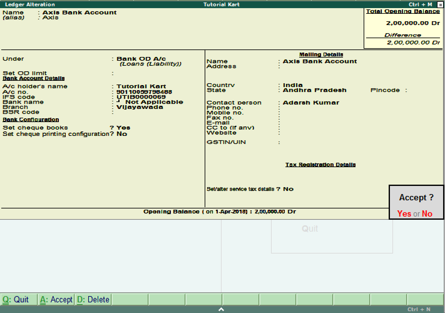 Alter ledger account in Tally ERP 9