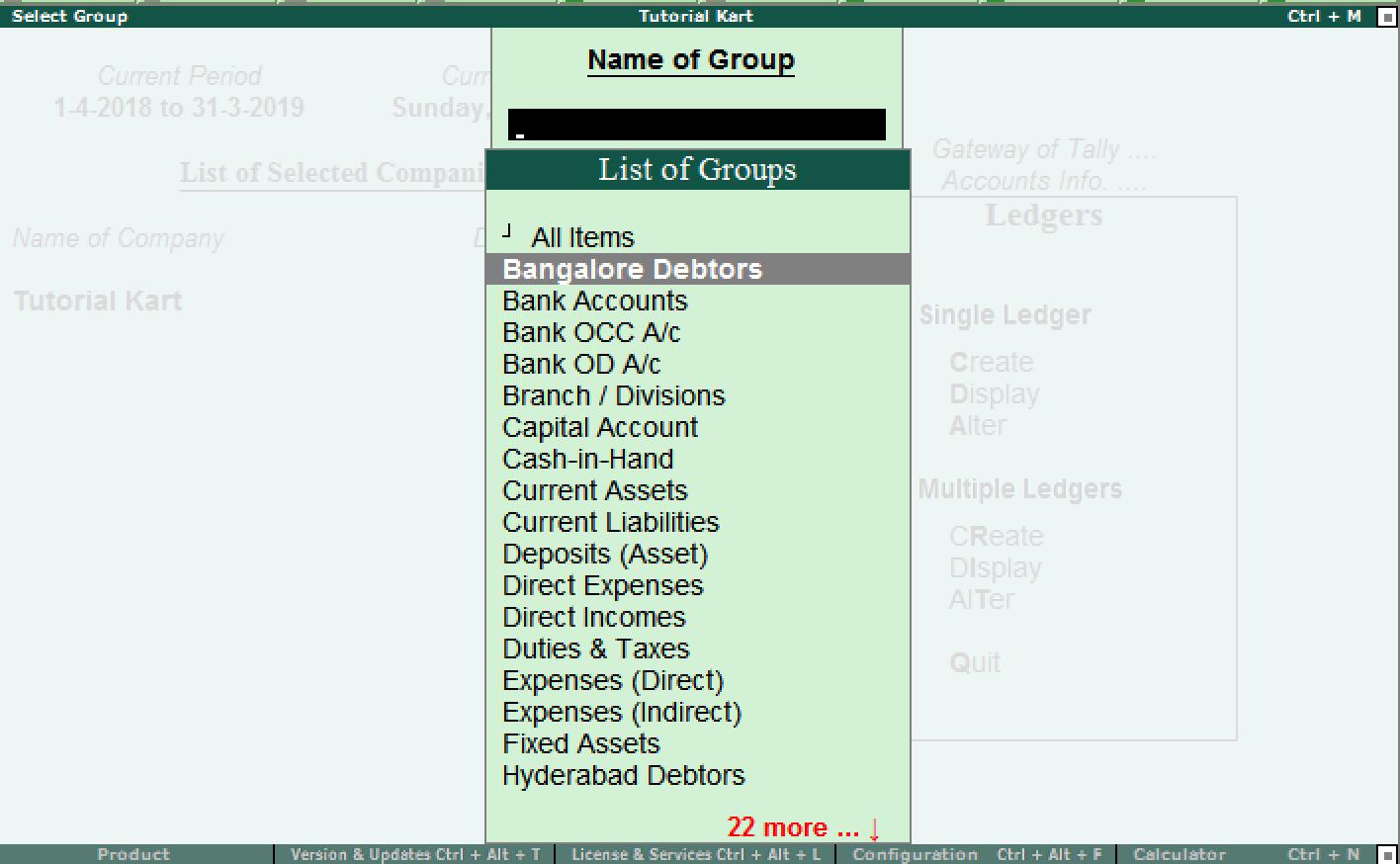 Choose group name for alter ledger