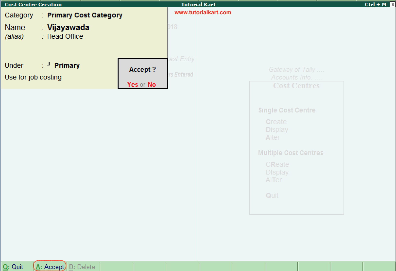 Cost Centre Creation in tally