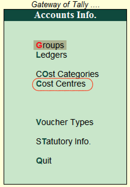Cost centres Tally.ERP 9
