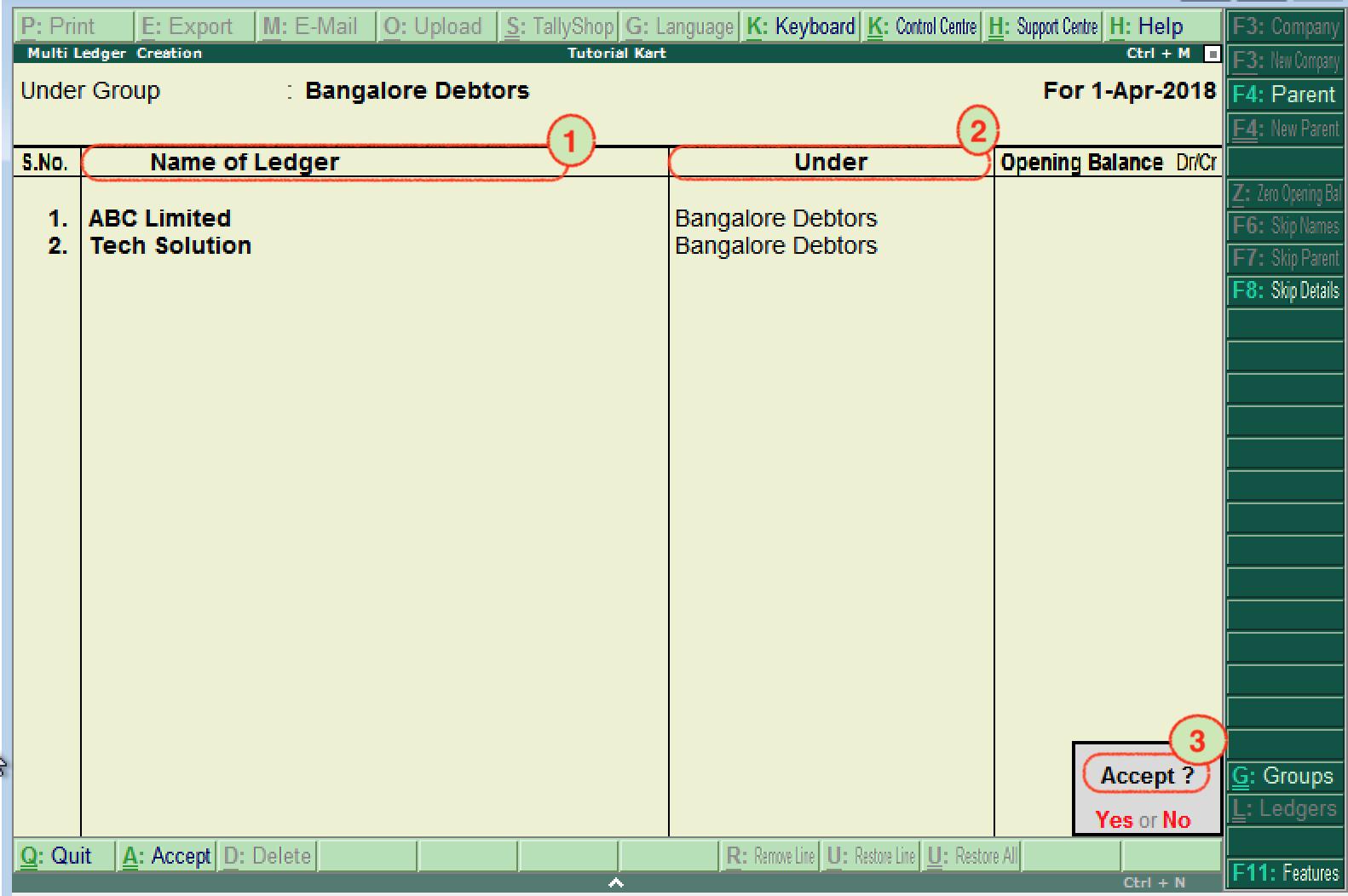 Create Ledgers (Multiple Ledgers) in Tally ERP 9