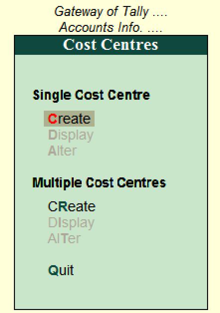 Create single cost centre Tally