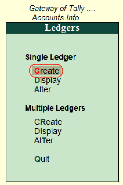 Create single ledger in Tally