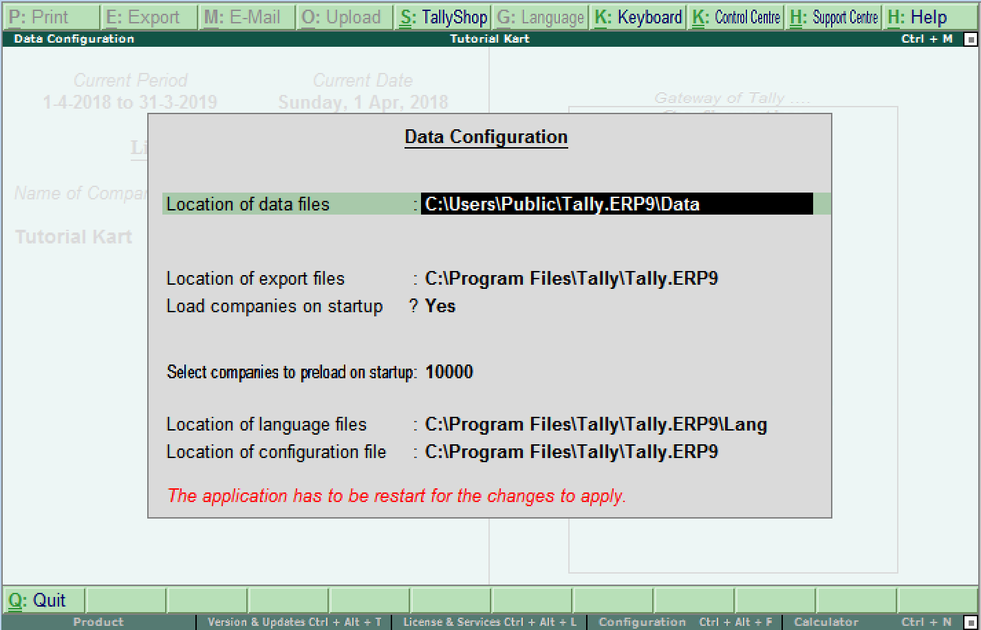 Data configurations in Tally ERP 9