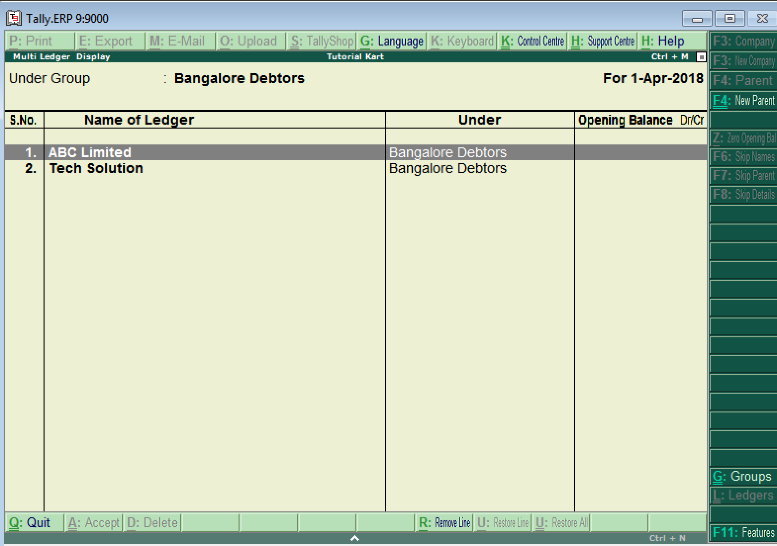Display Ledgers in Tally