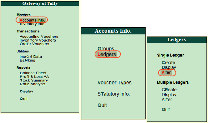 How to alter single ledger in Tally