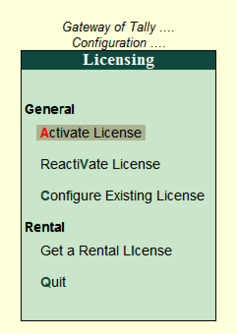 Licensing configuration in Tally