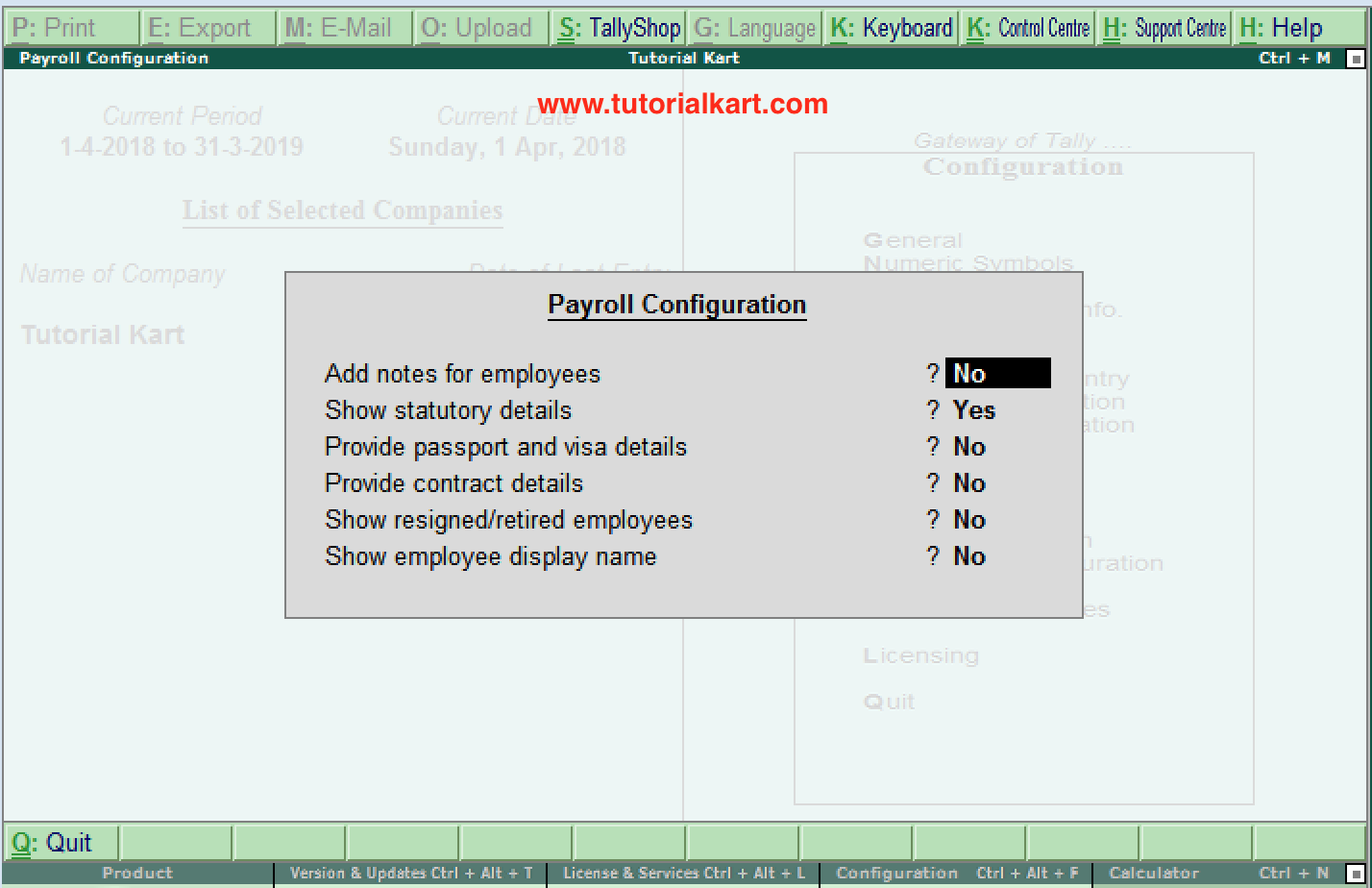 Payroll Configuration in Tally.ERP 9