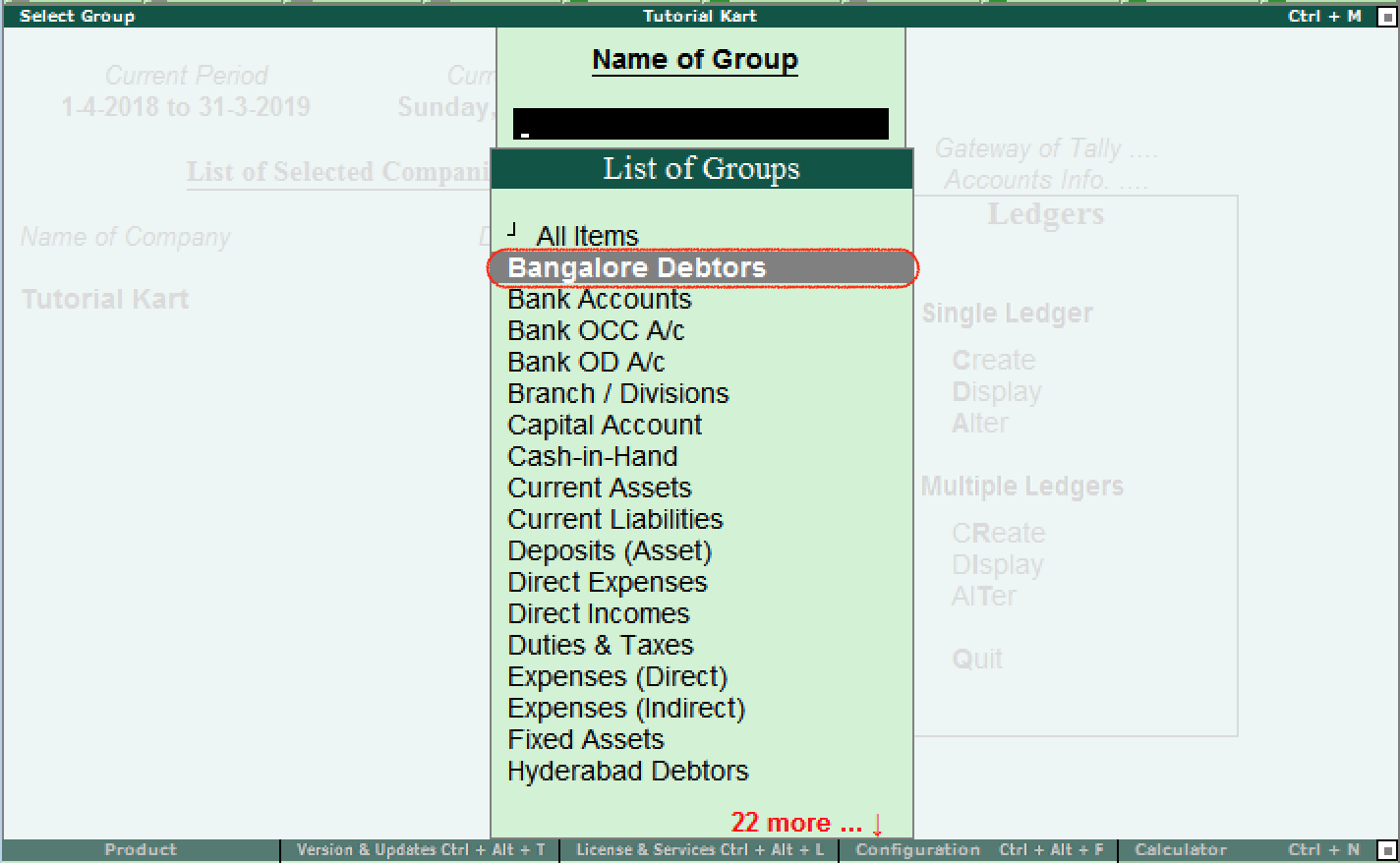 Select group for ledgers display