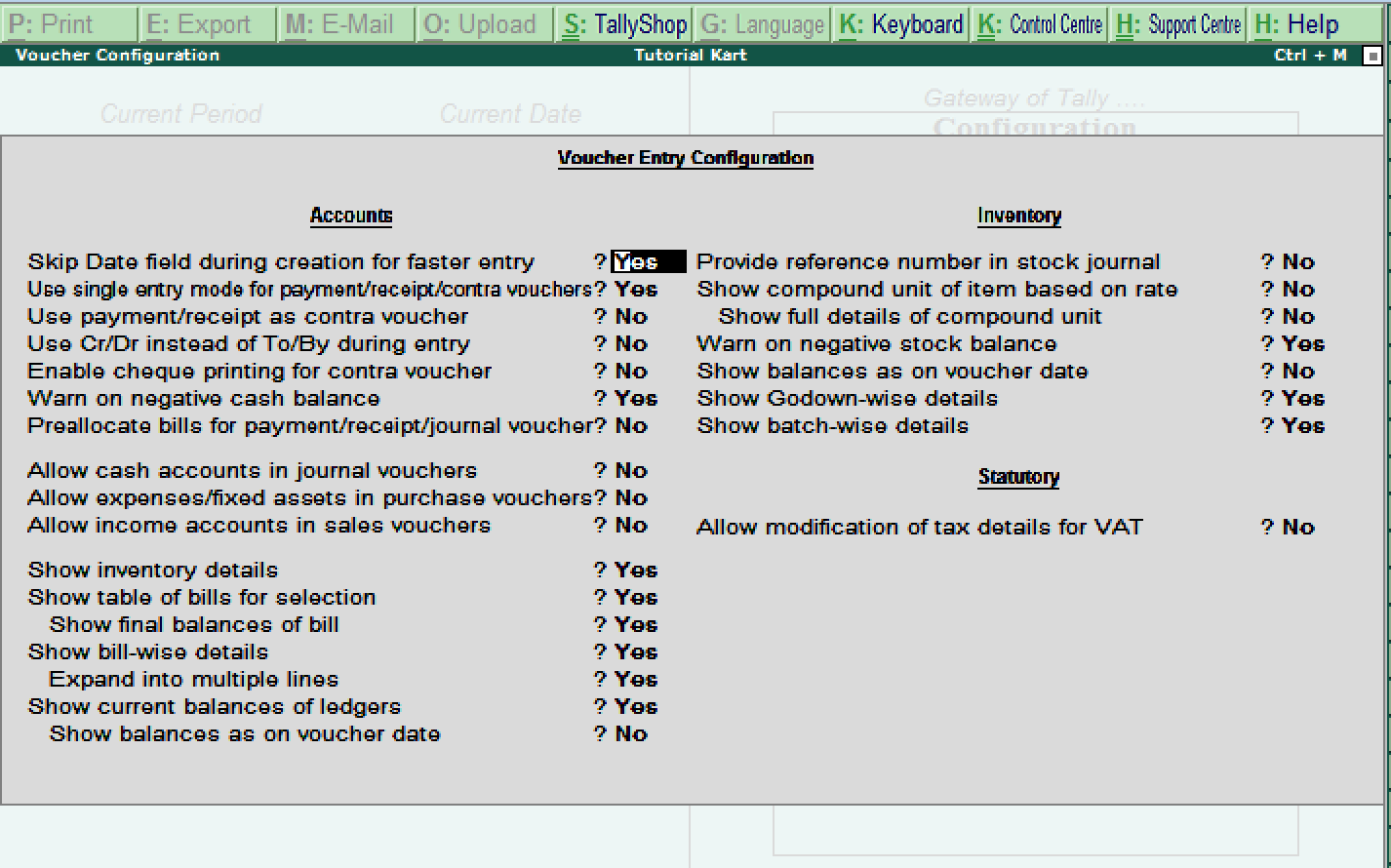 Voucher Entry Configuration in Tally