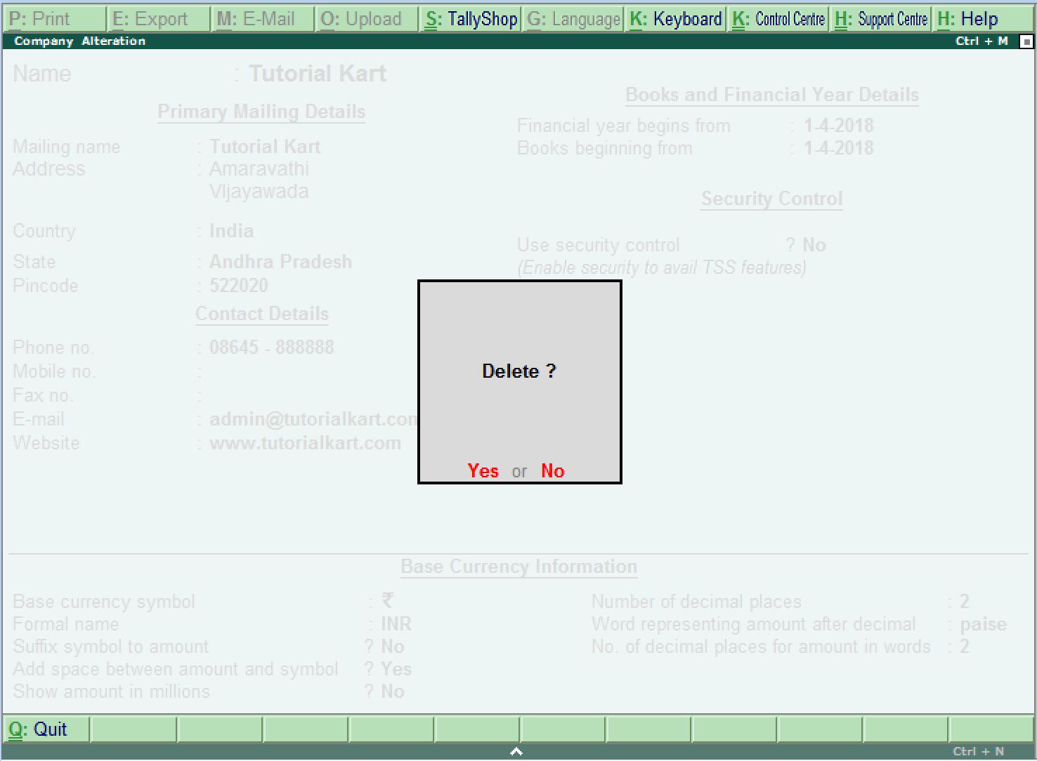delete company in Tally ERP 9