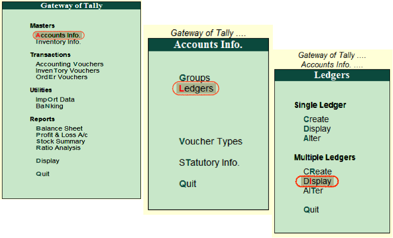 display Multiple Ledgers in Tally
