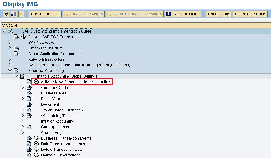 Activate new general ledger accounting SAP menu