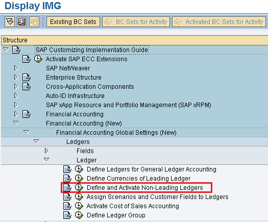 Define and activate non leading ledgers in SAP
