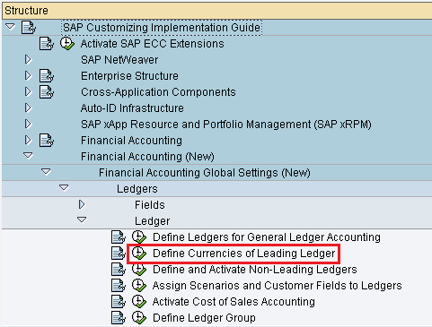 Define currencies of leading ledger in SAP path