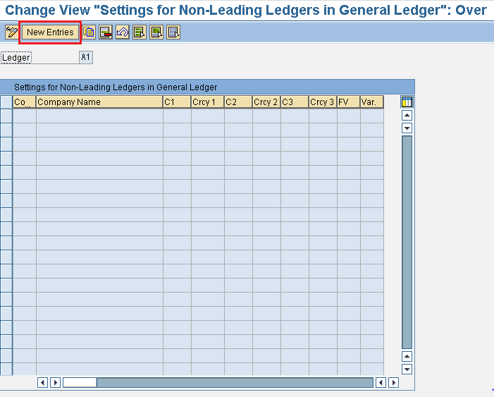 Settings for non leading ledgers in general ledgers in SAP
