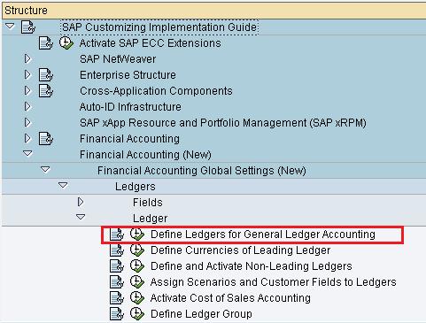 define ledgers for general ledger accounting menu path