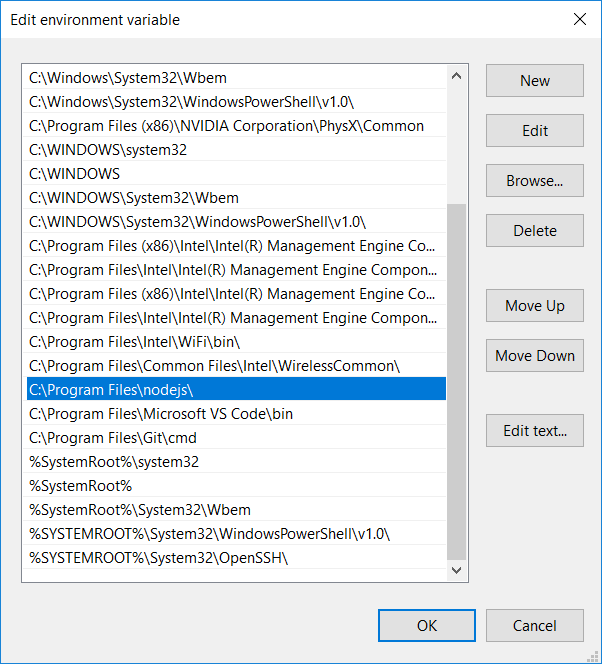 Add path of Node folder to System Environment Path variable