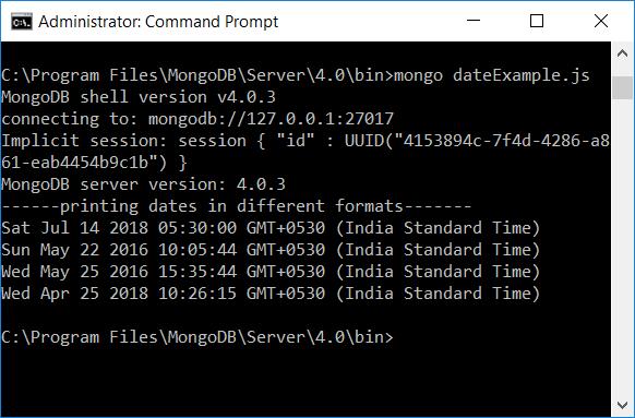 MongoDB Date Formats