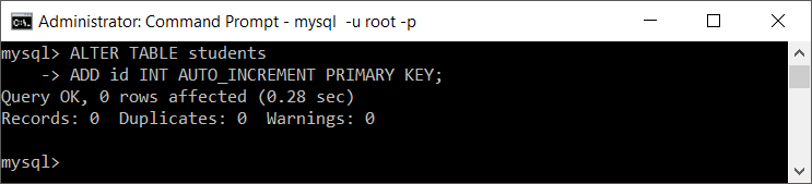 MySQL add integer column that is PRIMARY KEY and auto increments