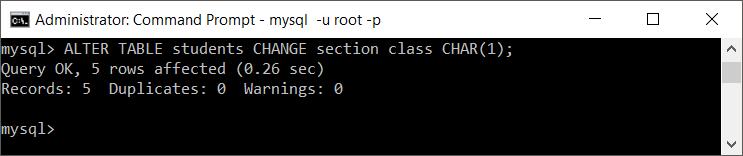 MySQL Change Column Name