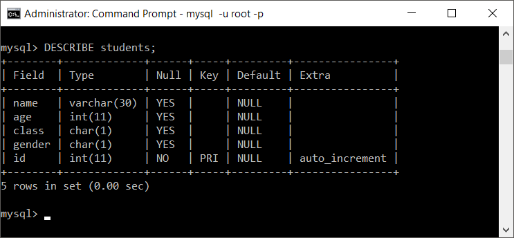 MySQL Describe table after changing column name