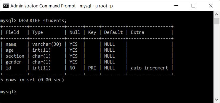 MySQL Describe Table