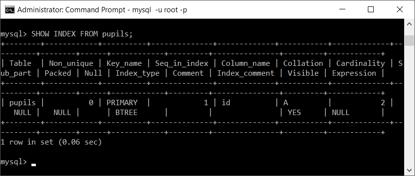 MySQL Index of Duplicated Table