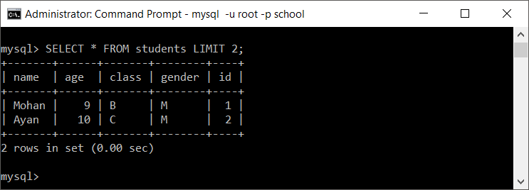 How to LIMIT rows to a specific number in MySQL?