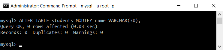MySQL modify column size