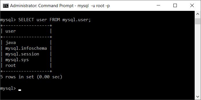 MySQL - Select user from mysql.users