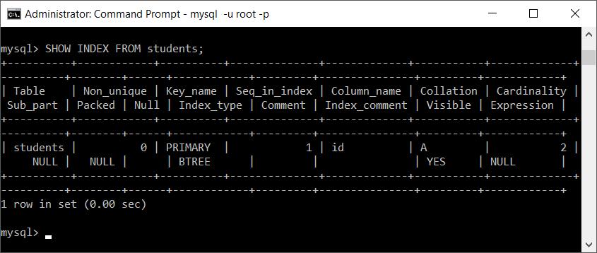 MySQL show index of table
