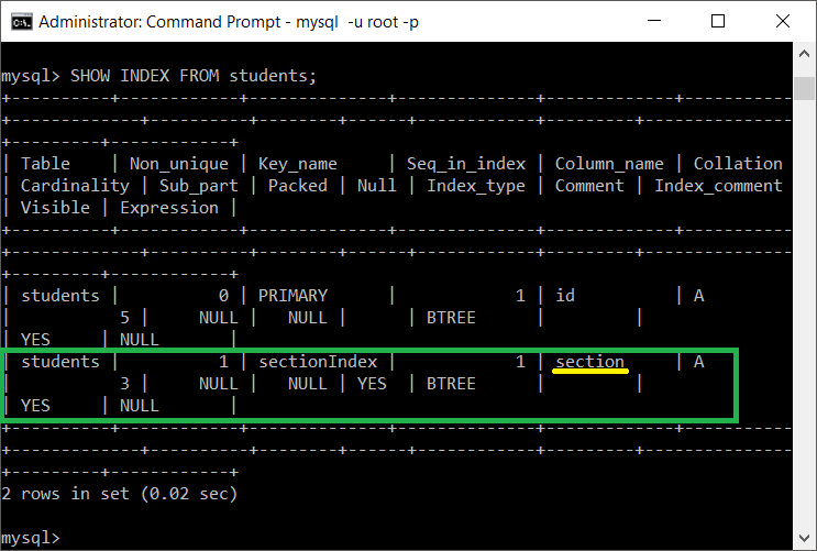 MySQL - Showing updated index of a table