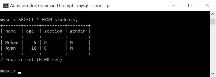 show mysql table data