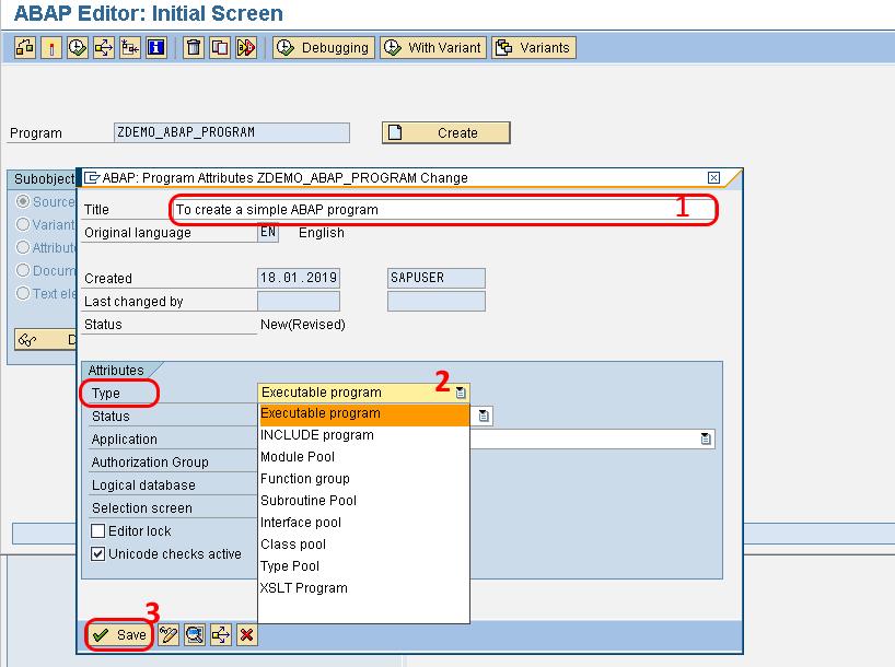 Create a abap program in SAP