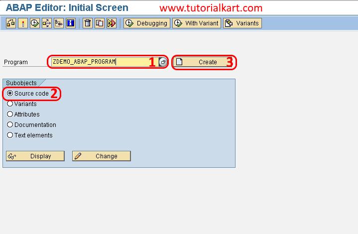 SAP ABAP Editor initial screen