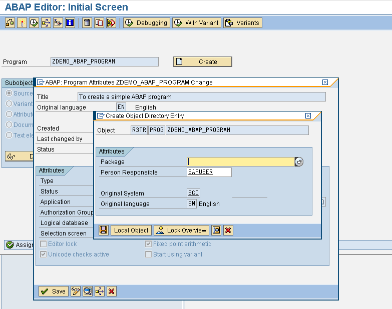 SAP ABAP program - local object