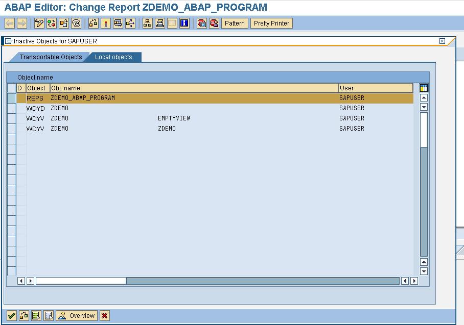 Save ZDEMO ABAP Program in SAP
