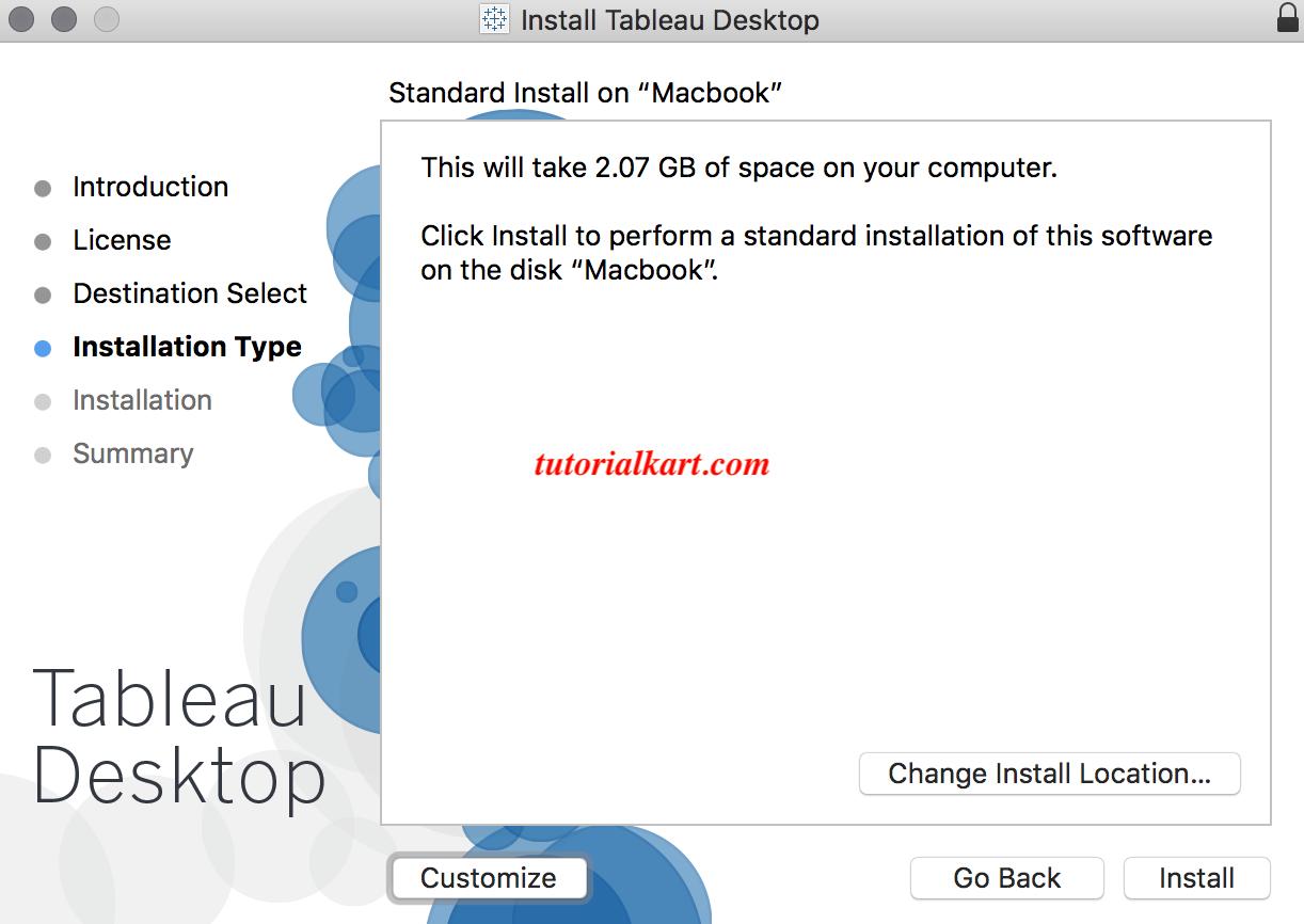 Tableau desktop installation