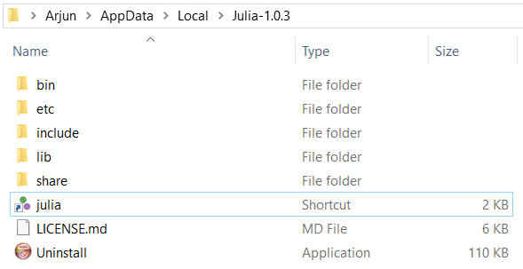 Julia installation folder