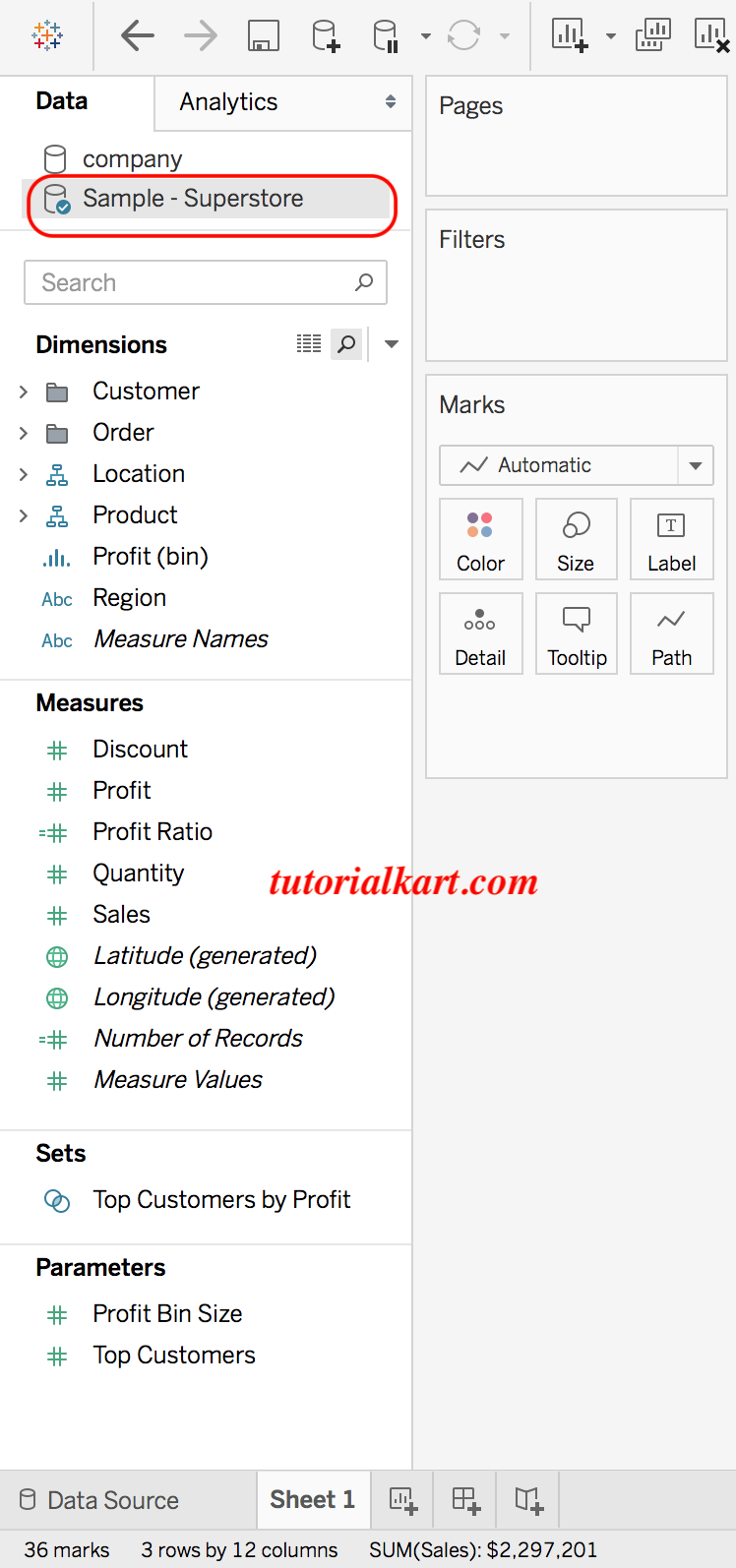 Tableau data connect to excel sheet