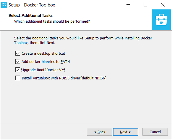 Docker Toolbox Installation - Select Additional Tasks
