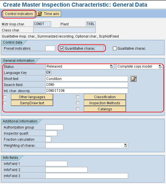 Create Master Inspection Characteristic general data SAP QM