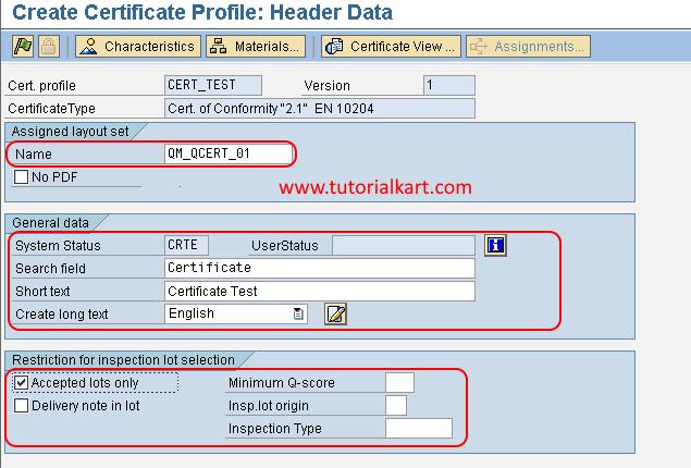 Create certificate profile in SAP QM header data