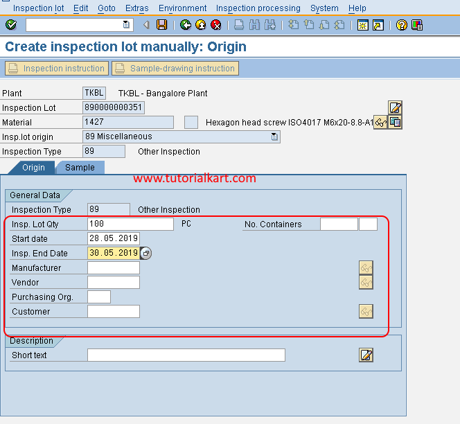 Create inspection lot in SAP QM