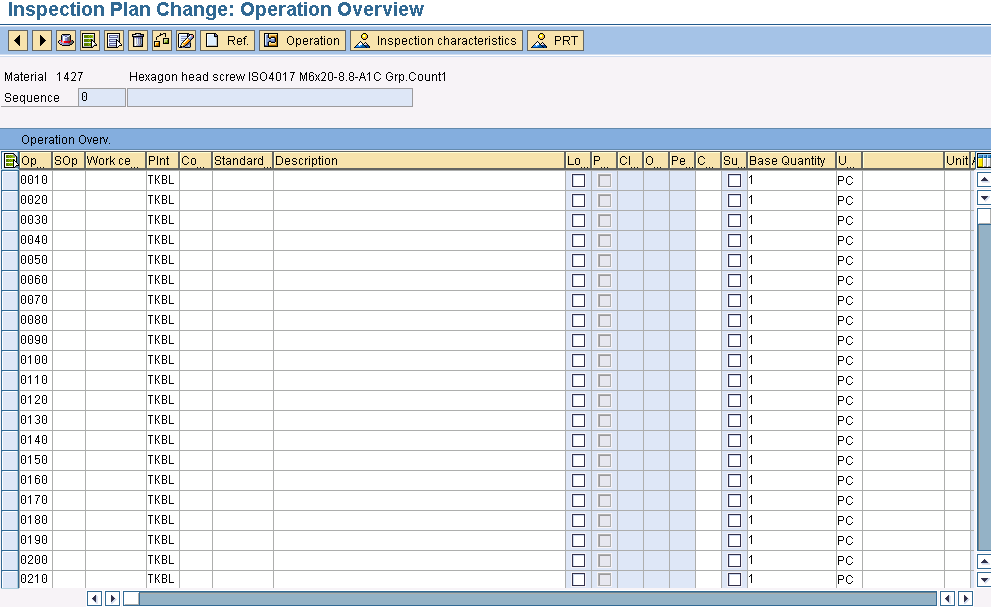 Inspection plan change operations in SAP QM