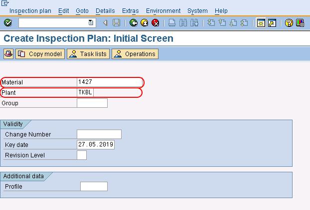 SAP QM Create inspection plan initial screen in SAP