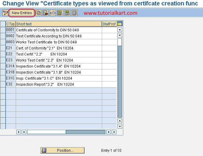 certificate types new entries in SAP QM