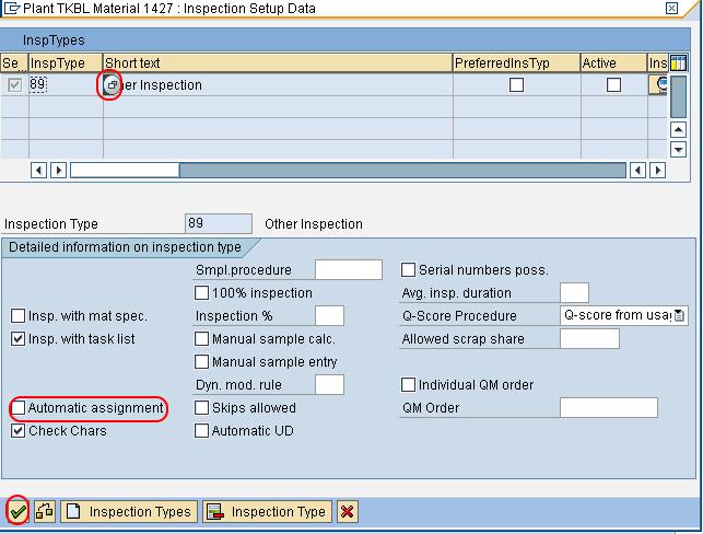 inspection setup date in SAP QM