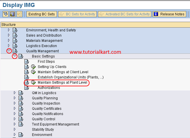 path maintain settings at plant level in SAP QM
